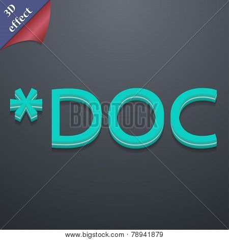 Doc File Extension Icon Symbol. 3D Style. Trendy, Modern Design With Space For Your Text Vector