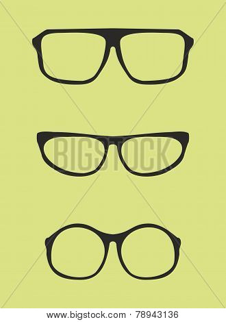 Black nerd, secretary or teacher glasses with thick holder - retro hipster vector illustration