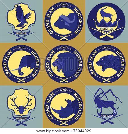 Hunting Club Label Collecton. Grand Safari Logos And Budges. Vector Illustration