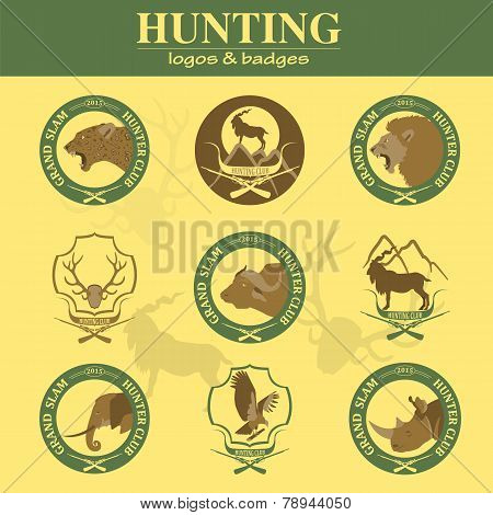 Hunting Club Label Collecton. Grand Safari Logos And Budges