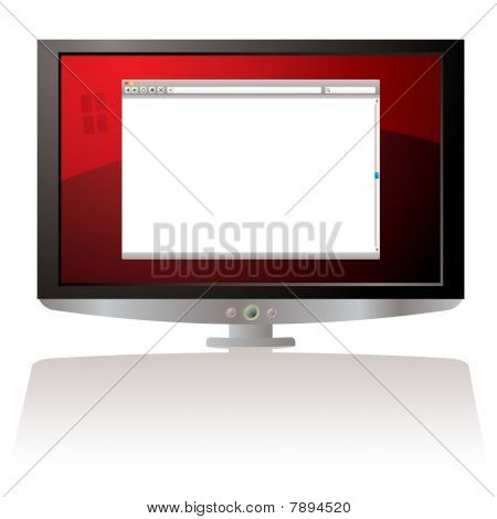 Lcd Red Web Browser Monitor