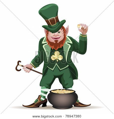 Joyful  leprechaun with a cauldron
