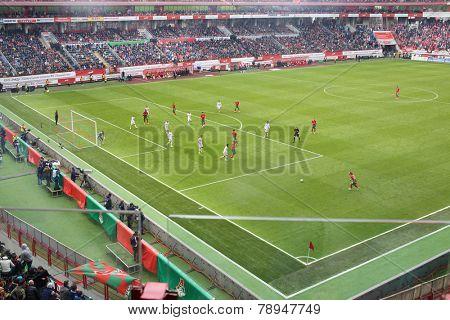 MOSCOW, RUSSIA - MAR 30, 2014: Russian Premier League, round of 23 Lokomotiv - Spartak at the Lokomotiv Stadium