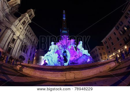 Piazza Navona In Rome At Night
