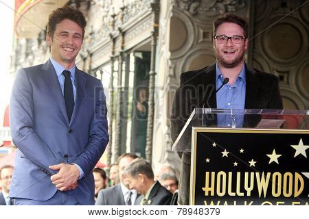 LOS ANGELES - MAR 7: James Franco, Seth Rogen at a ceremony as James Franco is honored with a star on the Hollywood Walk of Fame on March 7, 2013 in Los Angeles, California