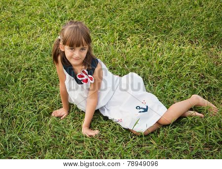Child on the lawn