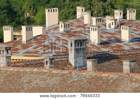 chimneys on the rooftops of Petrovaradin Old Town, Serbia