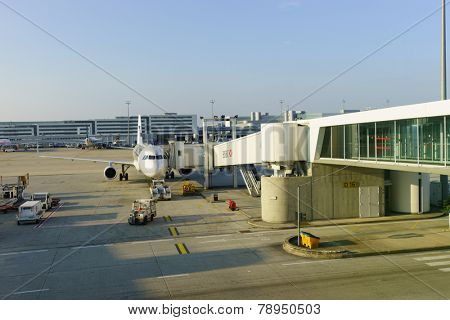 PARIS - SEPTEMBER 10: Charles de Gaulle Airport on September 10, 2014 in Paris, France. Paris Charles de Gaulle Airport, also known as Roissy Airport, is one of the world's principal aviation centres
