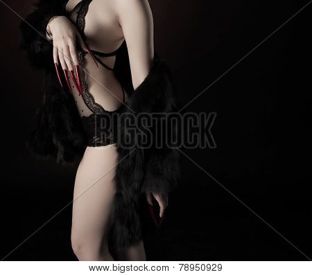 Fashion Photo Of Beautiful Woman In Lingerie And Fur Coat With Long Red Nails