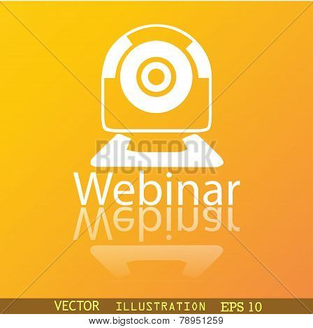 Webinar Web Camera Icon Symbol Flat Modern Web Design With Reflection And Space For Your Text. Vecto