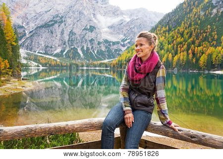Portrait Of Happy Young Woman On Lake Braies In South Tyrol, Ita