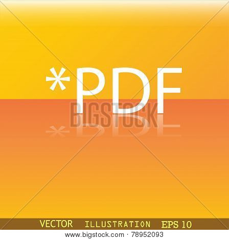 Pdf File Extension Icon Symbol Flat Modern Web Design With Reflection And Space For Your Text. Vecto