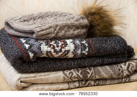 Pile Of Winter Clothes