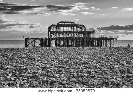 Sundown By Old Brighton Pier