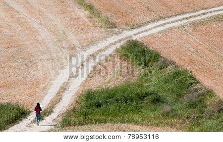 Teenage girl walking in the Fields.