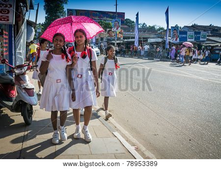 Schoolgirls In White Uniforms