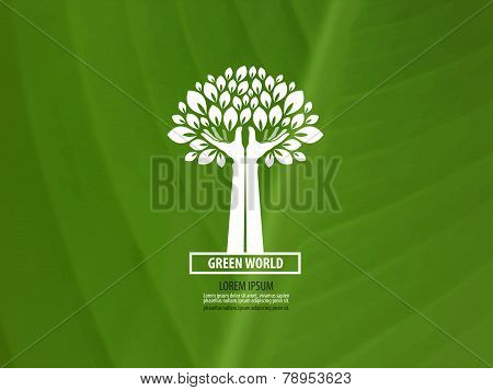 Protection of the environment. Nature and human hands. logo, stamp, emblem, icon