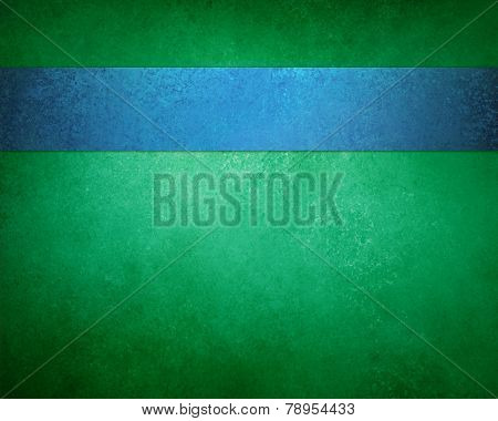 elegant green background with blue ribbon stripe layout design