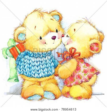 Cute Teddy Bear. Background For Kid Birthday Card. Watercolor Illustration