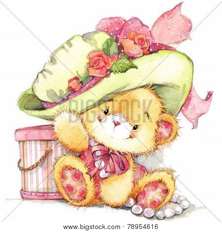 Funny teddy bear. Background For Kid Birthday Card. Watercolor Illustration