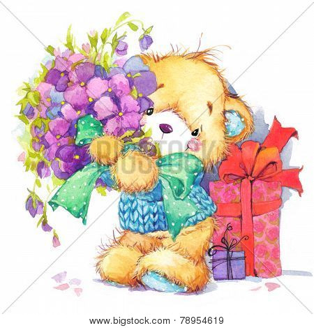 Teddy Bear.background for Birthday card.watercolor