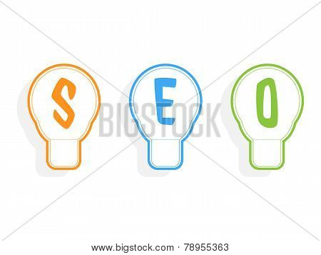Concept Of Seo Word Combined With Light Bulb