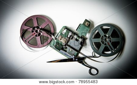 8Mm Movie Reels, Film On Splicer Ans Scissors