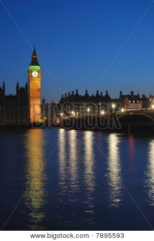 Big Ben and Westminster Bridge at twilight