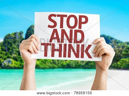 Stop and Think card with a beach on background