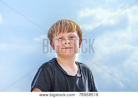 Sweating Boy After Sport Looks Confident
