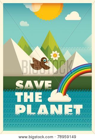 Ecology poster design. Vector illustration.