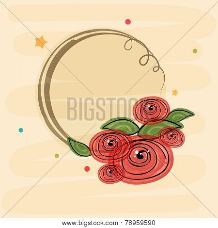 Beautiful flowers decorated rounded frame with space for your text or massage.