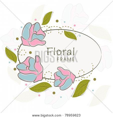 Oval shaped frame decorated with vintage flower and leaves with its shadow on white background.