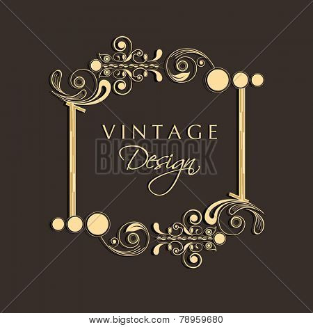 Floral decorated beautiful vintage frame and copy space for your message or text on brown background.