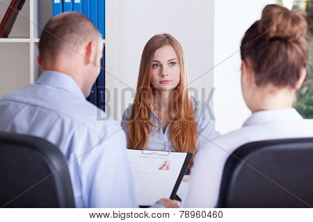 Girl Focused On Job Interview