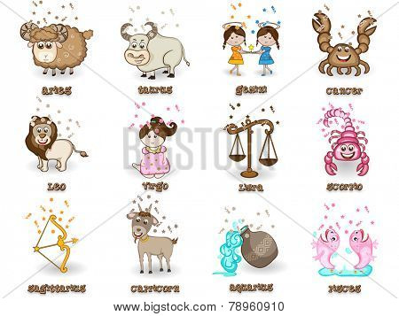 Creative funny twelve Zodiac or Horoscope sign on beige background.