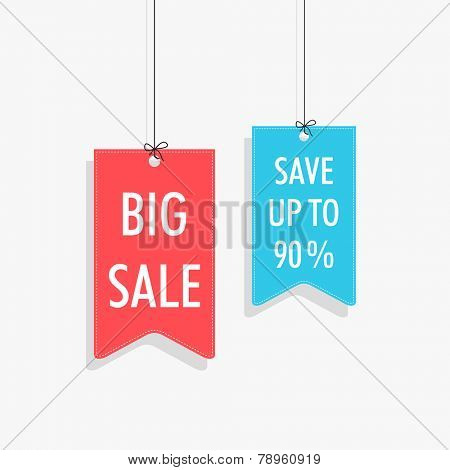 Sale tag, sticker and label with hanging style on shiny silver background.