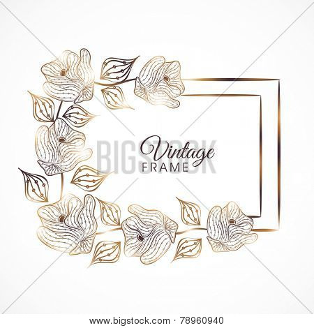 Vintage frame with vine of golden roses and leaves on white background.