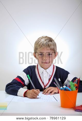 Schoolkid Doing Homework