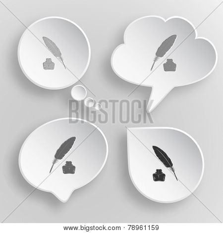 Feather and ink bottle. White flat vector buttons on gray background.