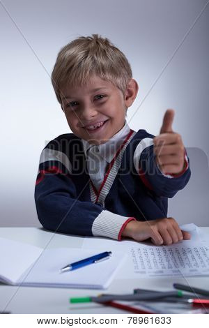 Little Schoolboy Showing Thumb Up