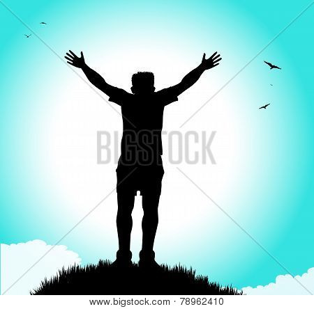 silhouette of man with open arms