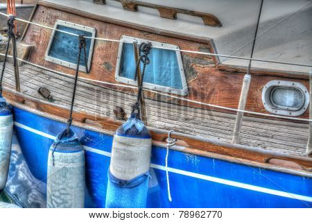 Boat Fenders In A Wooden Boat