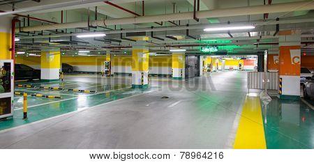 SHENZHEN - DEC 16: underground parking in ShenZhen on December 16, 2014 in Shenzhen, China. ShenZhen is regarded as one of the most successful Special Economic Zones.