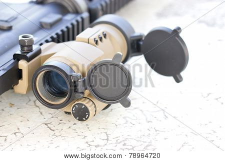 Close Up Of Sniperscope Of A Gun.