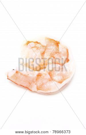 Cooked Unshelled Shrimps Isolated On White.