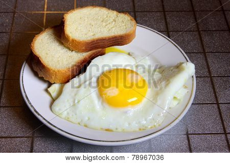 bread and fried eggs