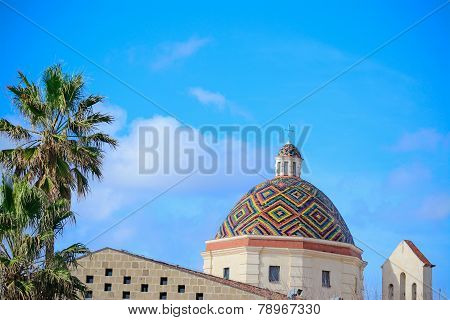 San Michele Dome Under A Blue Sky In Alghero