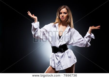 Young Woman In Male's Shirt Fashion