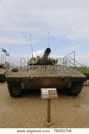 Israel made main battle tank Merkava Mark II on display at Yad La-Shiryon Armored Corps Museum